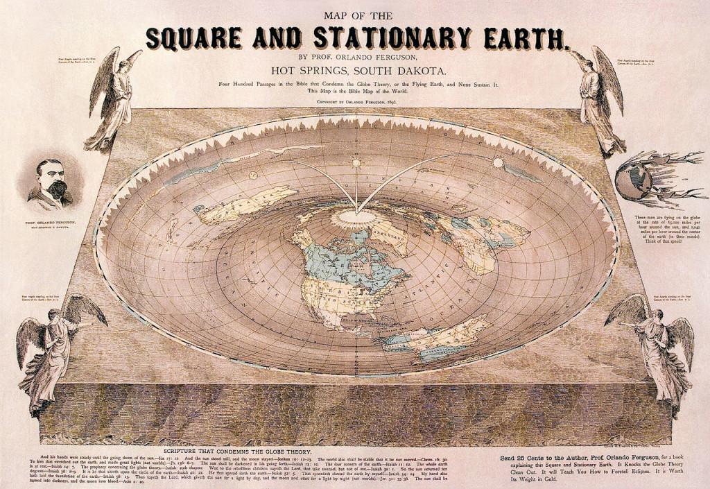 3 - la mappa della terra piatta di Orlando Fergusson, del 1893.