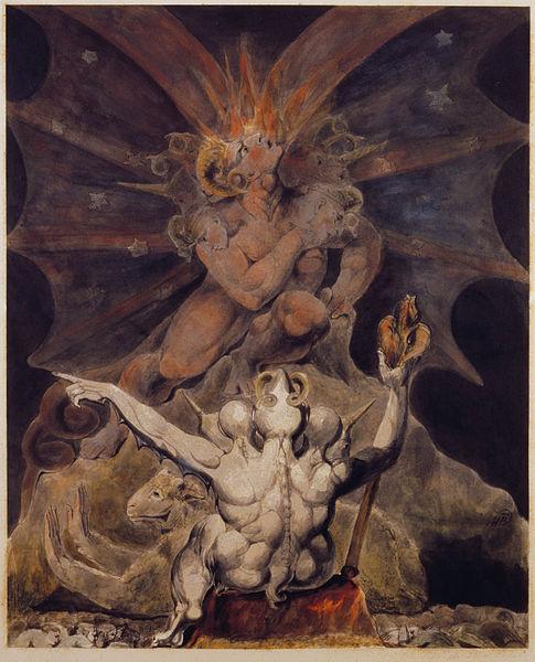 """""""Il numero della bestia è 666"""", dipinto di William Blake, 1805 (Rosembach Museum and Library, Philandelphia)."""