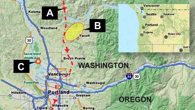 mappa del dirottamento D.B. Cooper