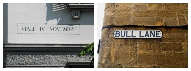 Comparison between a street name in Italian (left) and English (right)