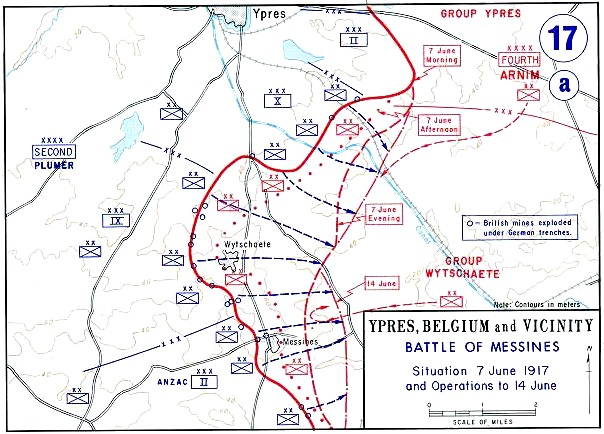 Mappa della battaglia di Messines, 1917