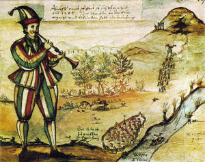 """Il """"pifferaio magico"""" in una illustrazione del 1592"""