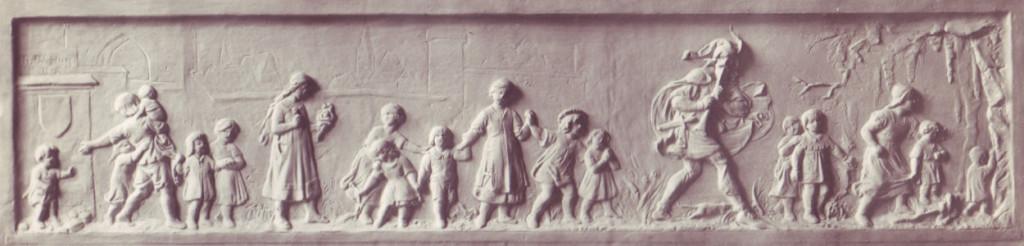 """Il """"pifferaio magico"""" in un bassorilievo di Heinrich Wefing, c.a 1880."""