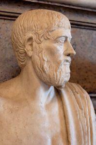 Ritratto di Pindaro. Marmo, copia romana da un originale greco del V sec. a.C.