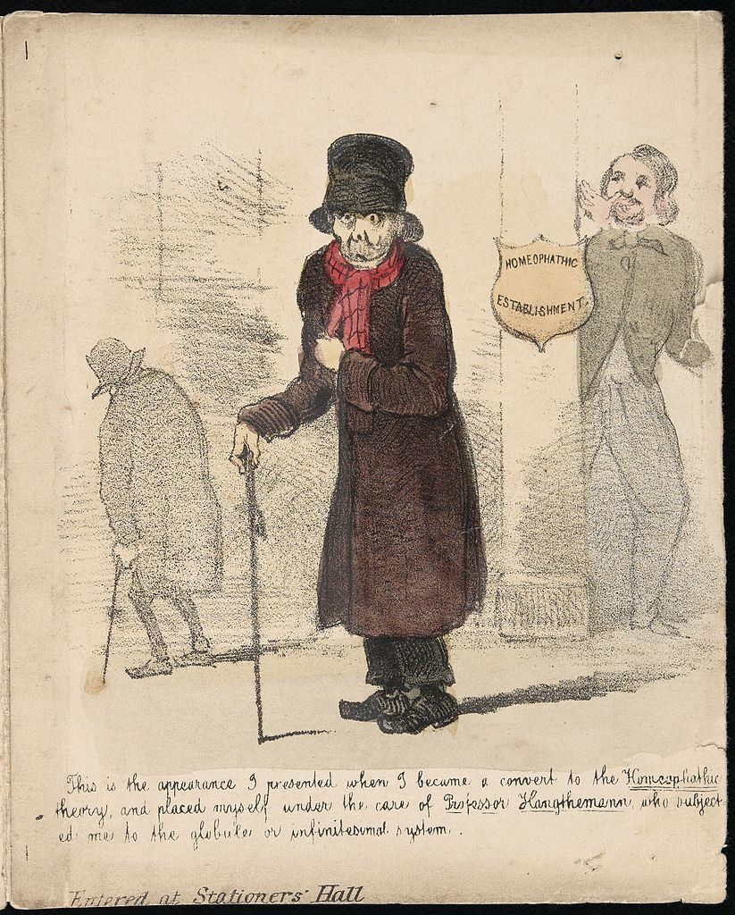 """A patient suffering from the effects of homoeopathic"", 1850 c.a"