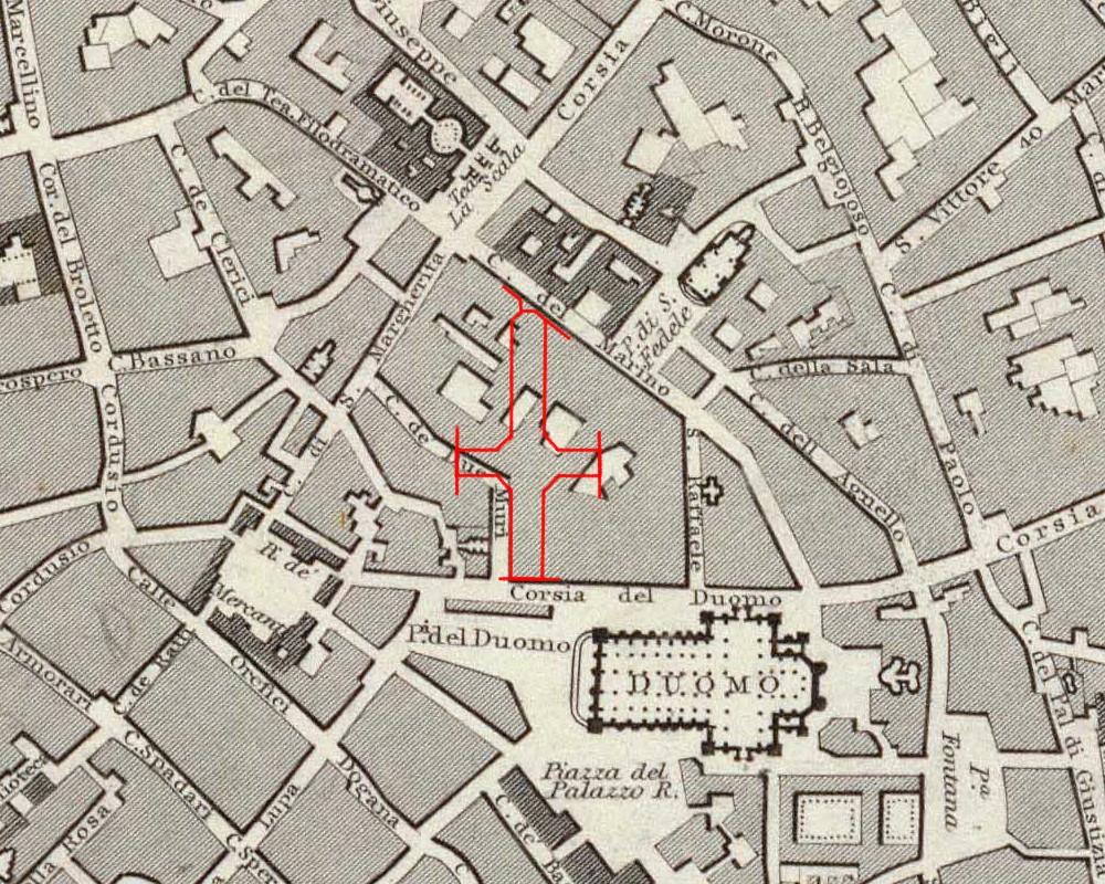 Milano: sagoma della galleria Vittorio E. II confrontata con una mappa del 1832.