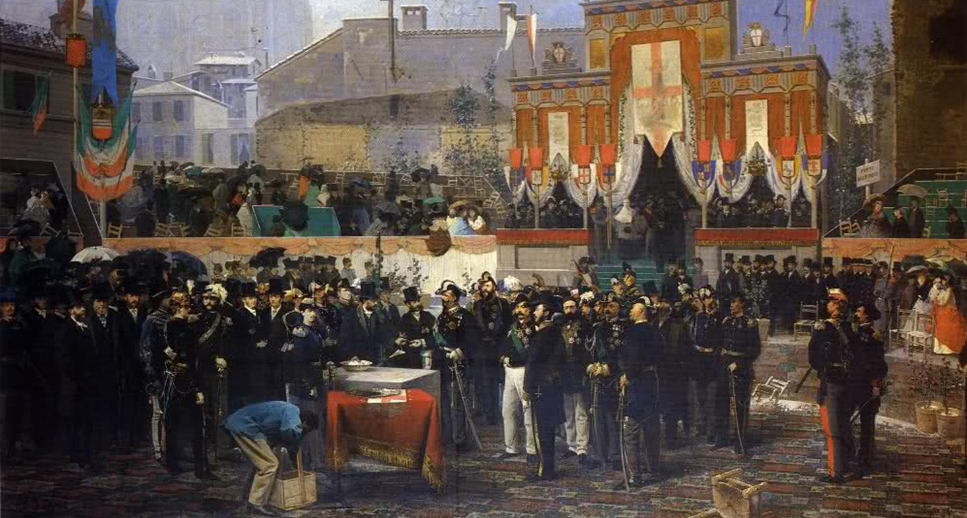 1865, Domenico Induno: Posa della prima pietra della Galleria di Milano il 7 marzo 1865.