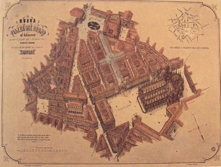 Progetto di Giuseppe Mengoni per la Galleriea e la sistemazione di Piazza Duomo, 1863.
