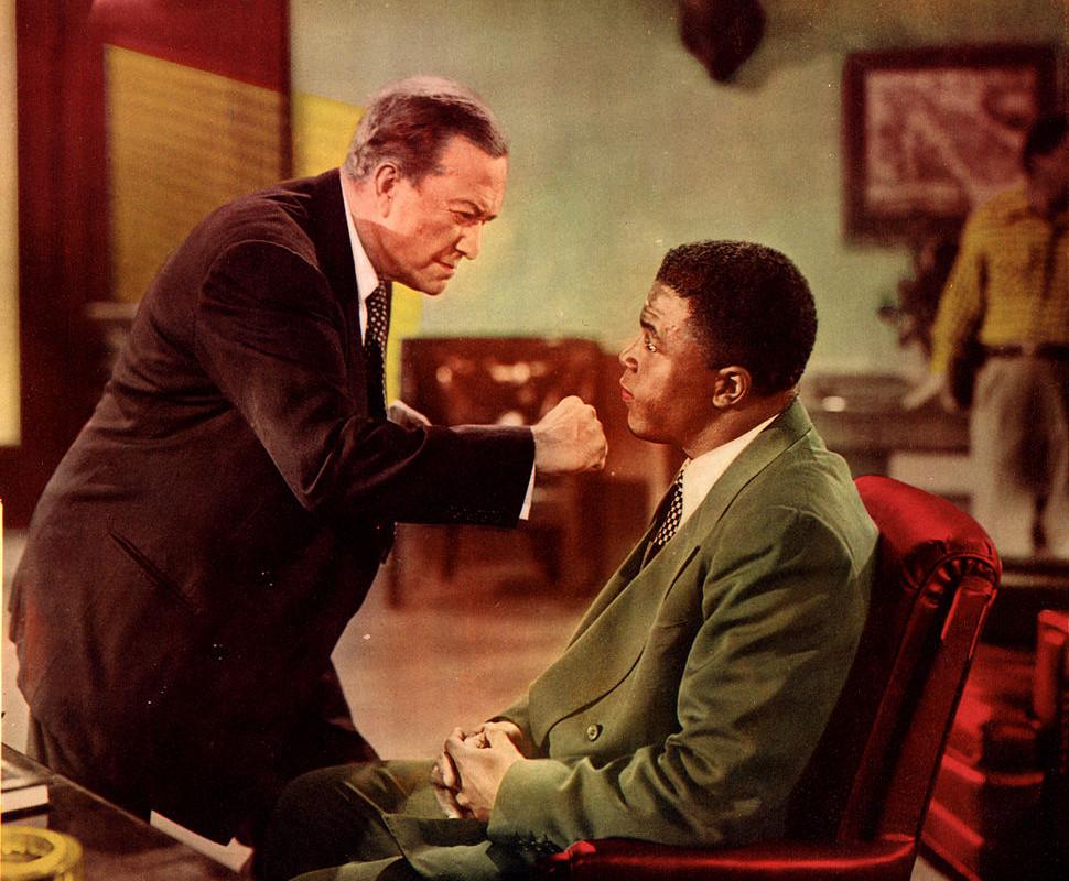 "Scena dell'incontro tra il presidente Rickey Branch e Jackie Robinson, dal film ""Jackie Robinson Story"" (1950)"