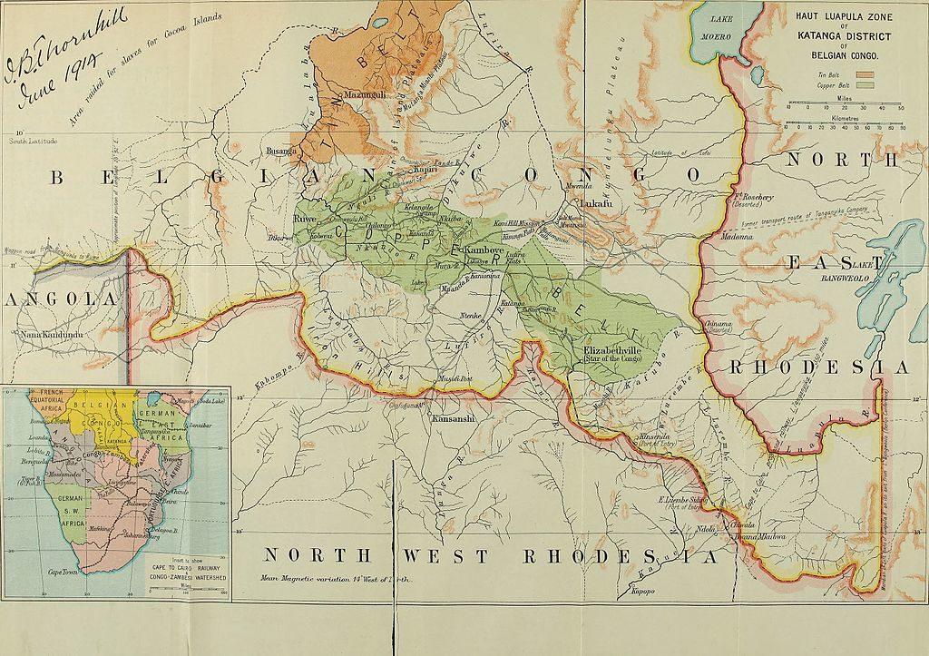 Il Katanga in una mappa del 1915.
