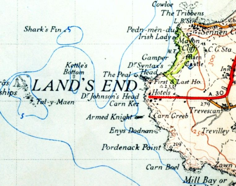 Land's End in una mappa del 1946.