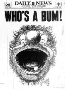 """""""Who's a bum!"""" copertina del New York Daily, 5 Ott. 1955"""