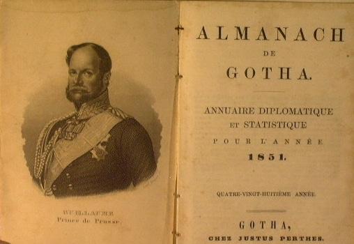 Copertina dell'edizione in francese dell'Almanac de Gotha del 1851