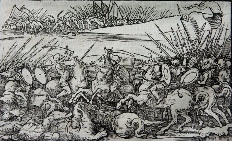 Battaglia di Polog, 1453. Incisione di Jost Amman, XVI secolo.