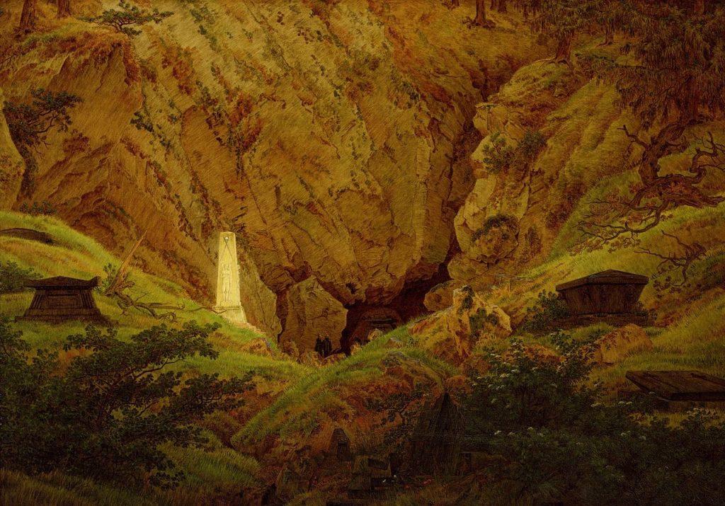 Tomba di Arminio, nel dipinto Tomba degli antichi eroi (Grabmale alter Helden) di Caspar David Friedrich, 1812