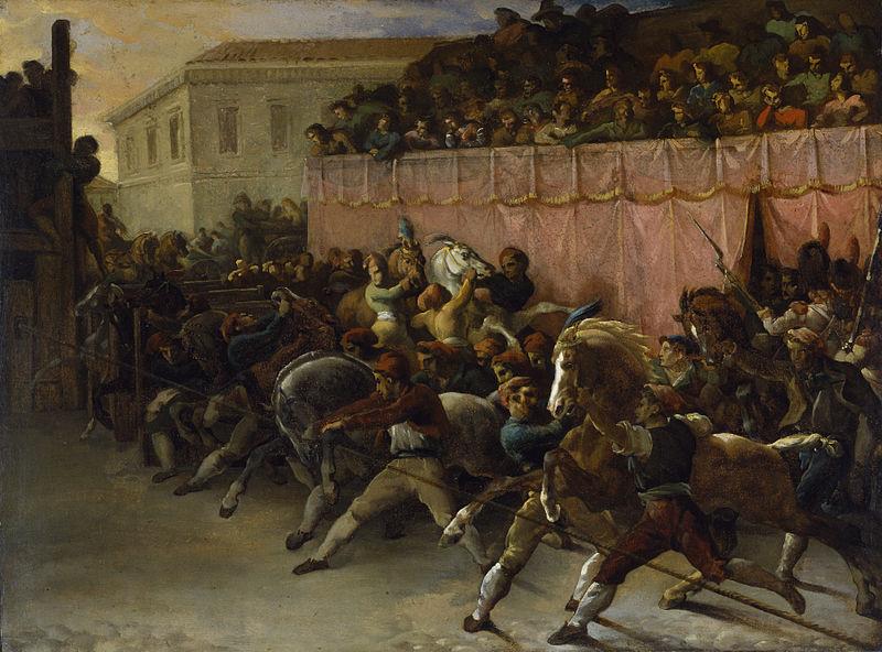 partenza del palio dei berberi a Roma, dipinto di Jean Louis Théodore Géricault, 1817