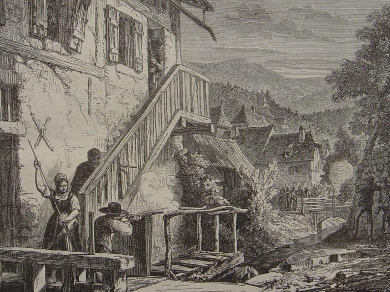 franco tiratore nei Vosgi durante la guerra franco-prussiana, 1870.
