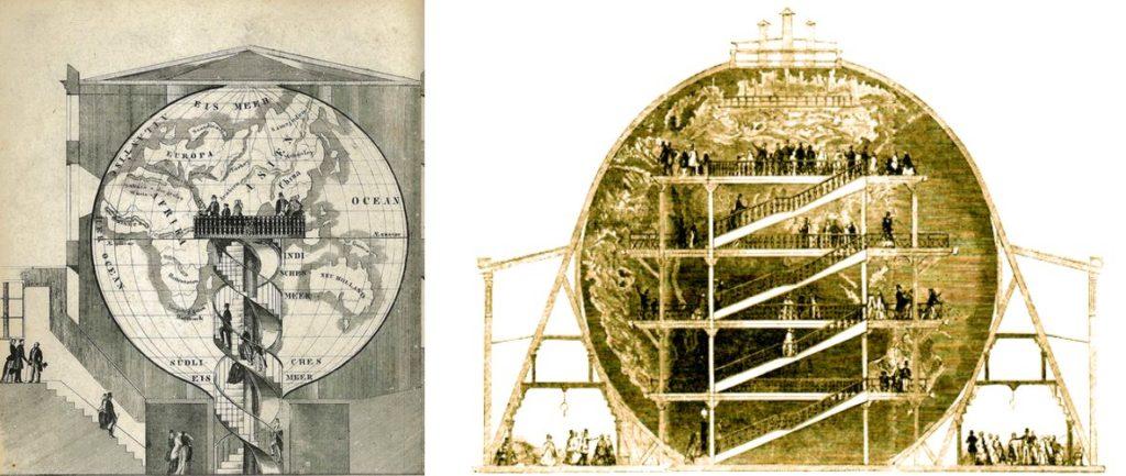 """Georama di Parigi (a sinistra) e il """"Great Globe"""" di Londra (a destra)"""