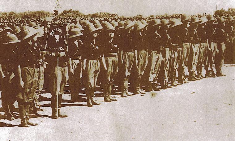 """La 219ª Legione CC.NN. """"Vittorio Veneto"""" della MVSN schierata in Africa Orientale."""