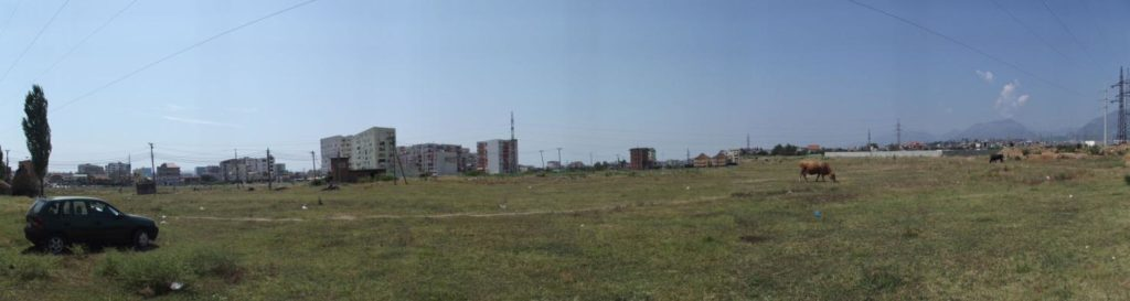 Un pascolo vicino al centro di Tirana.