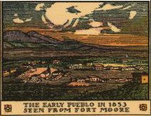 The early pueblo in 1853 seen from Fort Moore