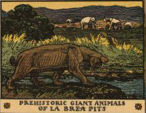 prehistoric giant animals of La Brea Pits