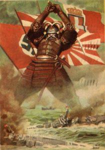 """Cartolina disegnata da Gino Bocassile nel 1941 per esaltare il """"patto tripartito"""""""