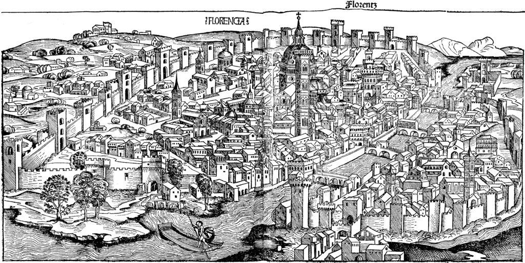 """Firenze nel 1490, incisione da """"Cronache di Norimberga""""."""