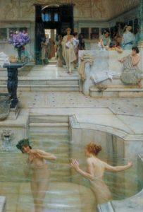 Donne romane alle terme, in un dipinto di Lawrence Alma Tadema, 1909.