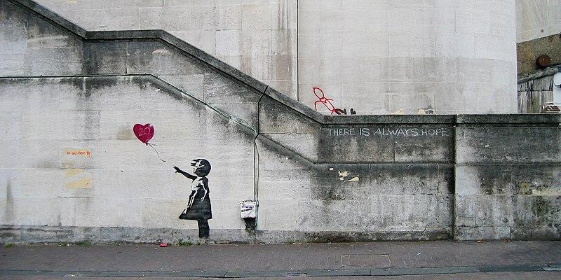 Banksy Girl with balloon, Waterloo Bridge 2002