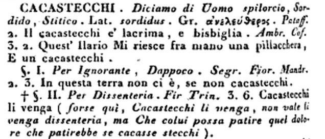 """""""cacastecchi"""" nel Dizionario della lingua italiana (per cura di Paolo Costa e Francesco Cardinali), 1820"""