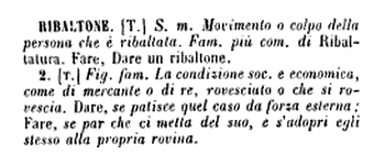 """definizione di """"ribaltone"""" nel dizionario di Tommaseo, 1872."""
