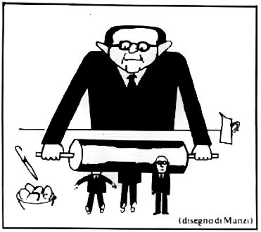 """Andreotti """"rimpasta"""" il Governo, vignetta di Manzi da """"il Giornale Nuovo"""" (1978)"""