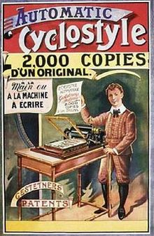 ciclostile di Gestetners: «Automatci Cyclostyle 2.000 copies d'un original.»