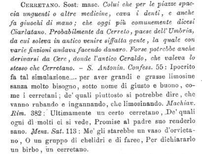 """Definizione di """"cerretano"""" nel Vocabolario degli Accademici della Crusca, 5a edizione"""