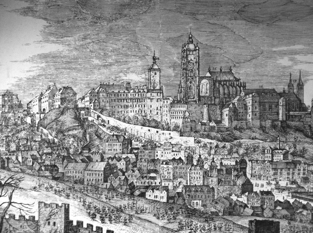 """Castello di Praga"" di Philipp van der Bossche, 1606."