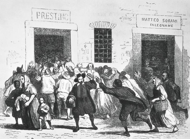 """Assalto al forno delle Grucce, da """"I Promessi Sposi"""", 1840."""