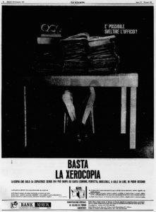 Pubblicità Xerox su La Stampa, 19 settembre 1963.