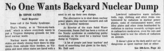 """No One Wants Backyard Nuclear Dump"", Daily Press 29 Jun 1980, Virginia"