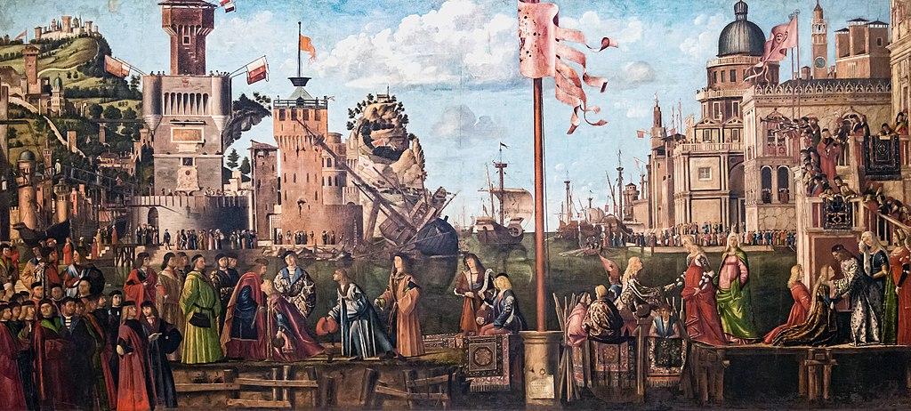 """""""Incontro dei fidanzati e partenza dei pellegrini"""" di Vittore Carpaccio (1495-1500)"""