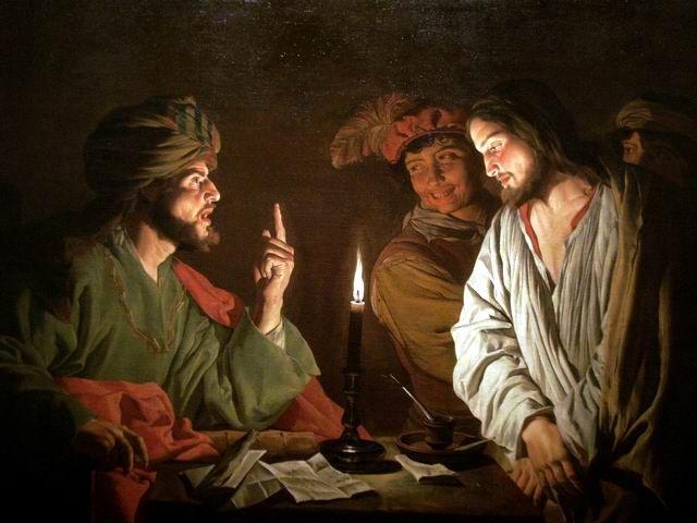 """Cristo di fronte a Caiafa"", dipinto di Matthias Stom (c.a 1630)"