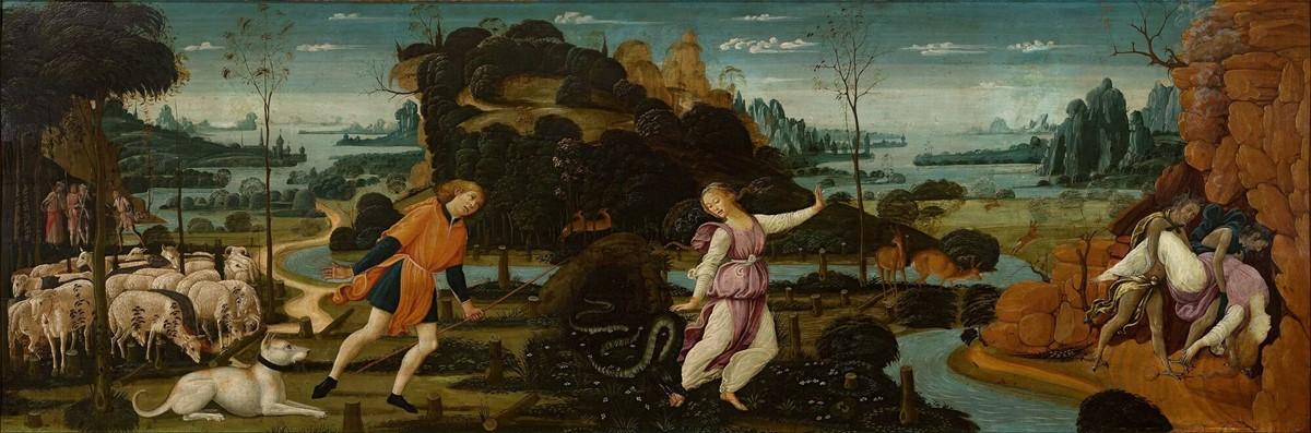 """""""Orfeo, Euridice ed Aristeo"""" di Jacopo del Sellaio (XV secolo)"""