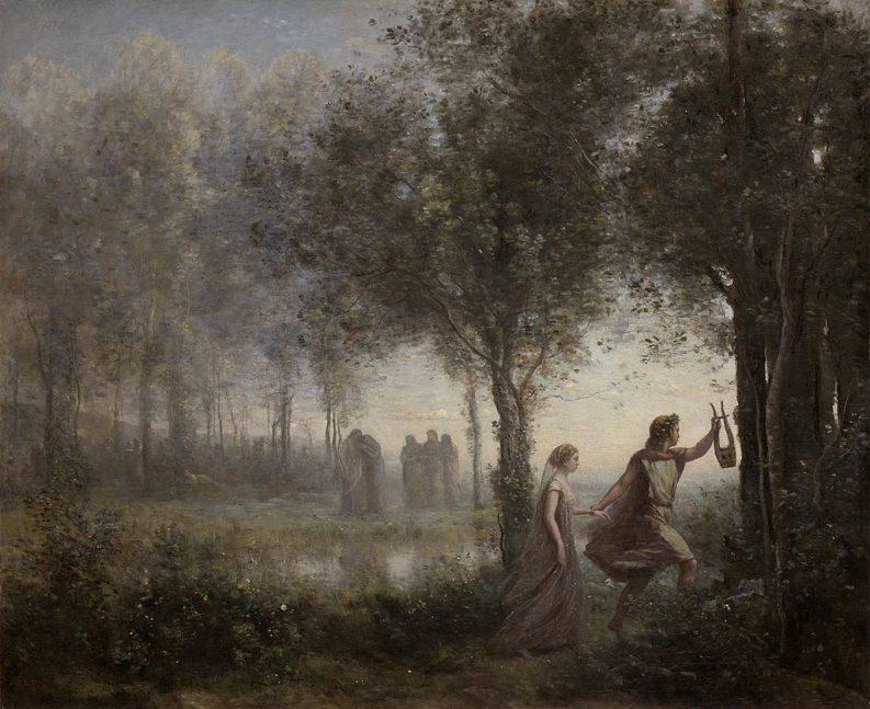 """""""Orfeo guida Euridice dall'aldilà"""", dipinto di Jean-Baptiste Camille Corot (1861)"""