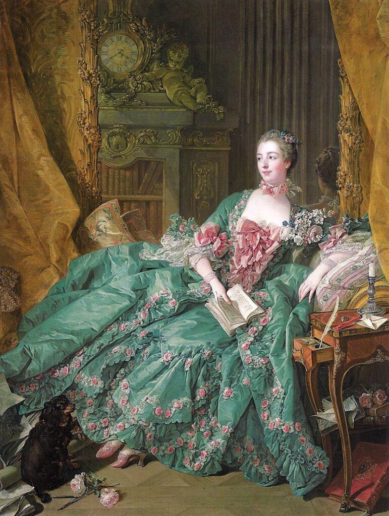 Madame de Pompadour con abito in taffetà, ritratto