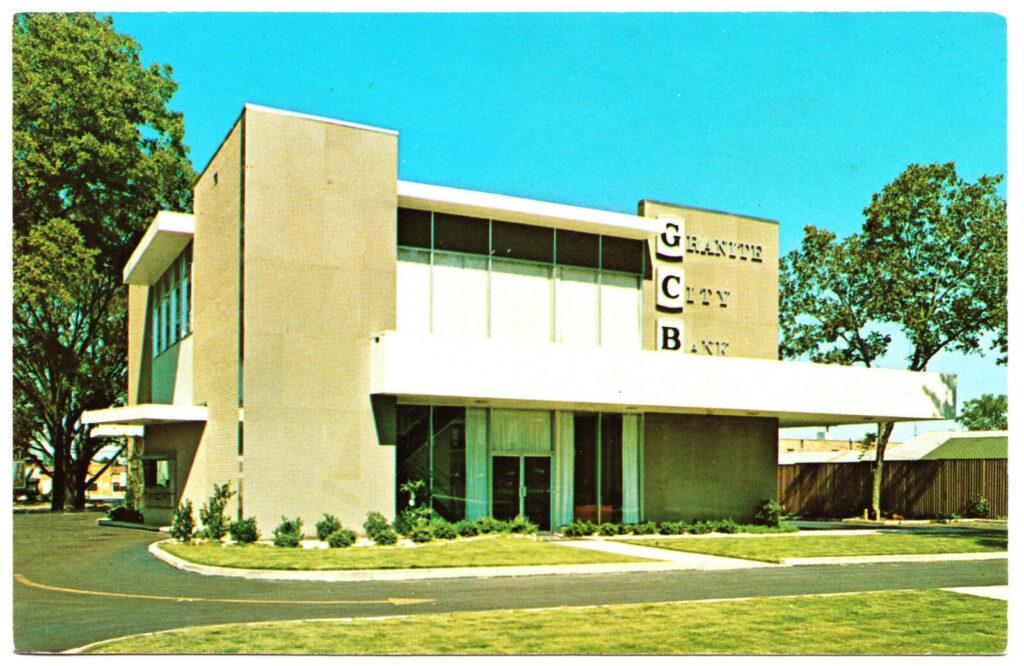 Edificio della Granite City Bank in Heard Street a Elberton, anni '80