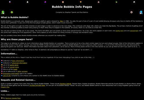 The Bubble Bobble info page