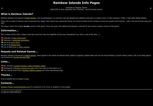 The Rainbow Islands info page