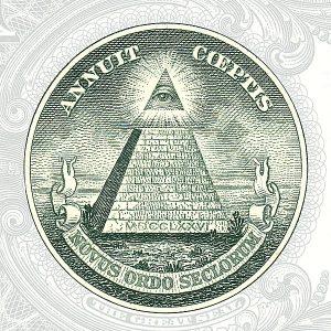 """sigillo con la scritta """"Novus Ordo Seclorum"""" sul retro della banconota da 1 dollaro americano"""